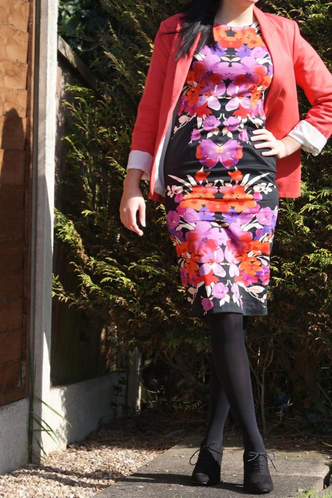 Tesco Flower Dress & Topshop Watermelon Blazer
