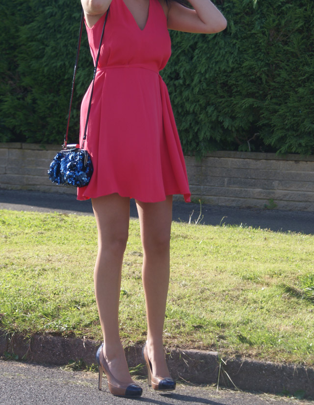french connection pink dress blue bag