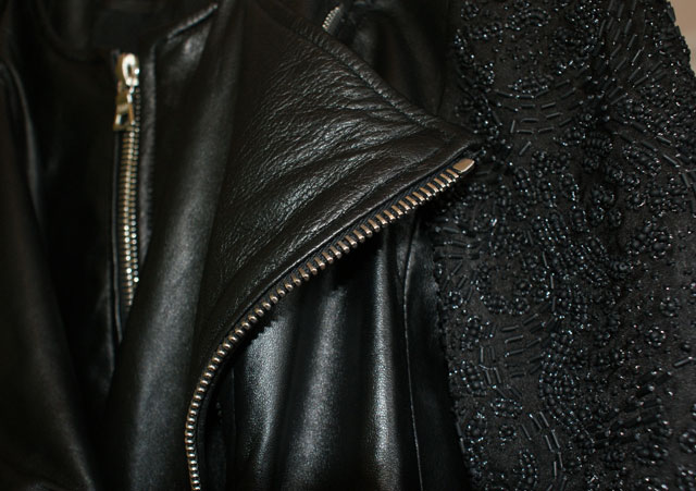 London Fashion Week SS13 Trends Collections Leather jacket with beads