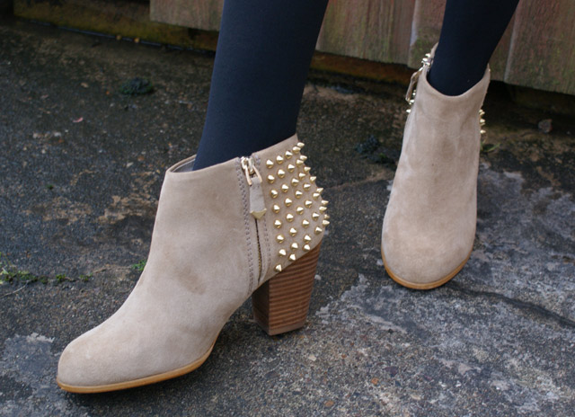 Zara Spiked Beige Colour Boots