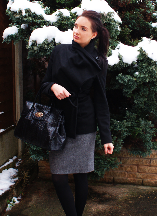 Ted Baker black wool wrap coat Mulberry bayswater