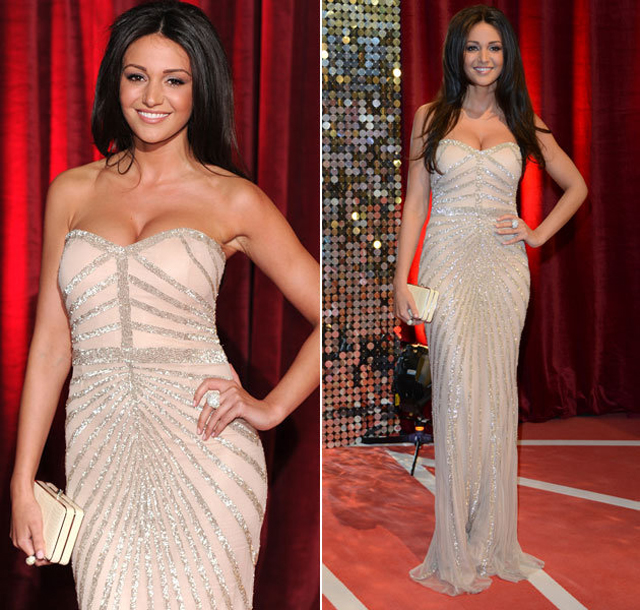 Michelle Keegan Red Carpet 2013 Soap Awards Nude Sequin Maxi Dress