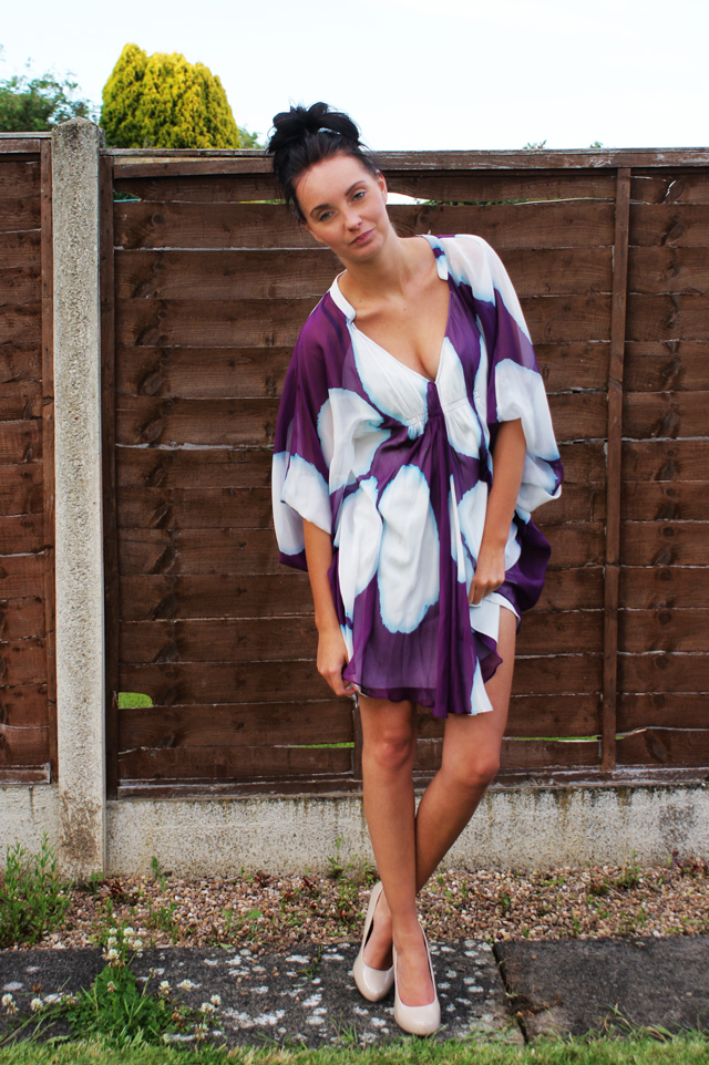 Diane Von Furstenberg printed silk purple dots fleurette dress