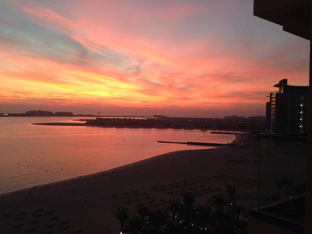 Dubai sunset Palm Beach