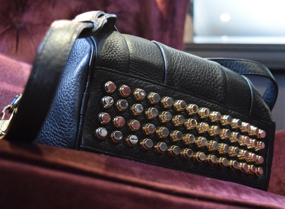 Pale gold studs studded Alexander Wang leather bag